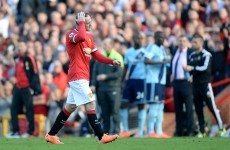 Man United reduced to 10 men as Rooney shown straight red card for kicking out