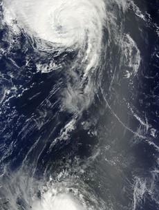 Hurricanes meet over the Atlantic