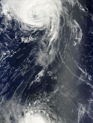 Hurricanes meet over the Atlantic