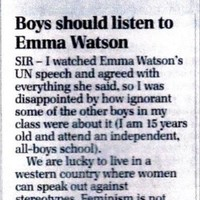 Everyone is sharing this 15-year-old boy's letter about Emma Watson's UN speech