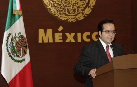 Mexico's government's security spokesman Alejandro Poire speaks during a press conference in Mexico City