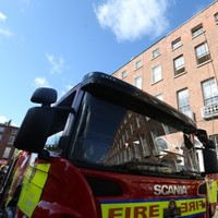 Fire brigade battle fire in Dublin city Georgian building