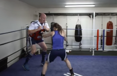 Paulie gets chased around the boxing ring by Katie, then gives her some rugby tips