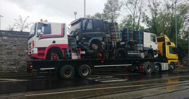 Gardaí seize a truck that's carrying three other trucks