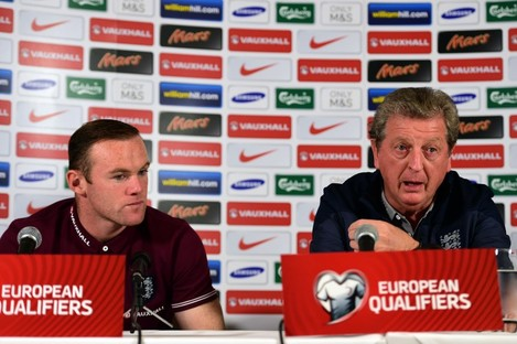 England's Manager Roy Hodgson (right) and Wayne Rooney during a press conference at The Grove Hotel, Watford.