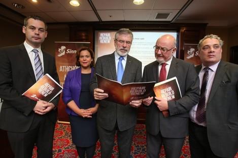 Sinn Féin launching its pre-Budget submission at a Dublin hotel this week.