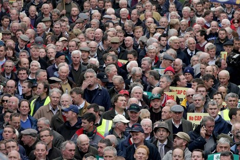 Farmers protesting outside Leinster House.