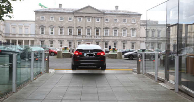 ANOTHER car got stuck on the barrier at Leinster House today