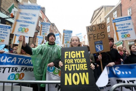 Students marched through Dublin city towards Leinster House in Protest against cuts to education last week.