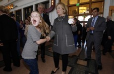 Little girl is almost too excited to be meeting Hillary Clinton