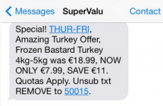 "SuperValu accidentally texts 'frozen bast*rd turkey"" offer to customers"