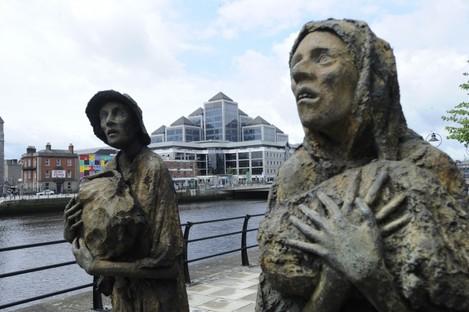 The famine memorial in Dublin