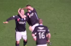 Unbelievable scenes as footballers do wrestling-style celebration