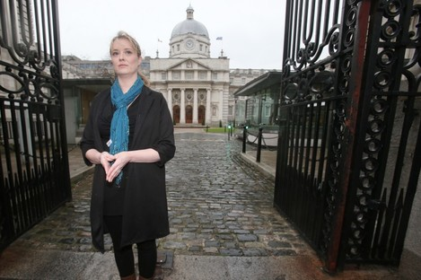 Maíria Cahill prior to her meeting with Enda Kenny at Government Buildings this morning.