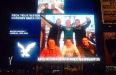 Irish lads use Times Square billboard to share anti-water charges message with Enda Kenny