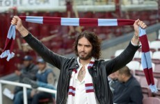 Russell Brand was so happy with that West Ham win he gave Big Sam a big slobbery smooch