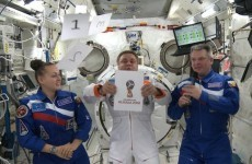 The 2018 World Cup logo was unveiled live in space last night