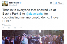 Tony Hawk just held an 'impromptu demo' in a Dublin skate park