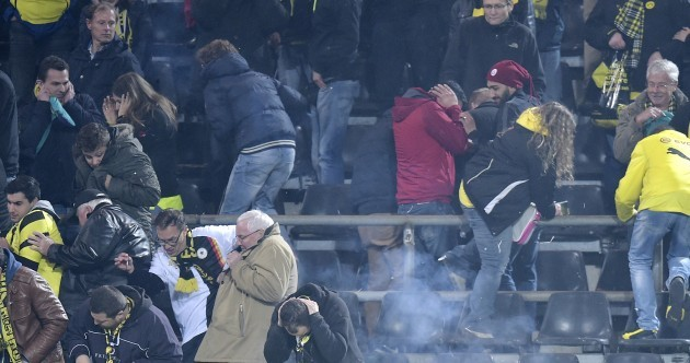 Dortmund rout Galatasaray to reach last 16 amid crowd trouble