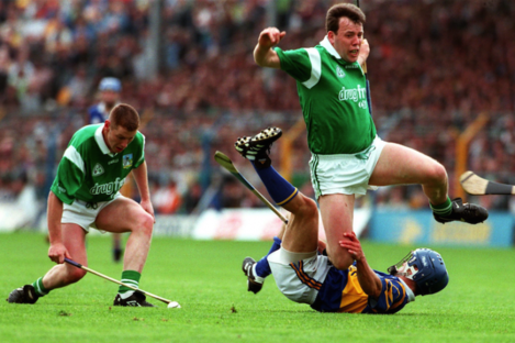 Gary Kirby and Ciaran Carey in action for Limerick back in 1997.