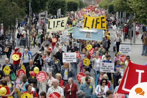Not everyone is in favour of opening up legislation to abortion - this was a rally on 2 July in Dublin.