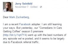 Jerry Seinfeld thinks Mark Zuckerberg 'may have something' with Facebook