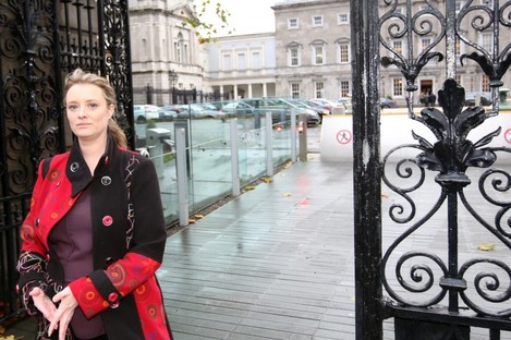 Mairia Cahill with media outside Leinster House yesterday.