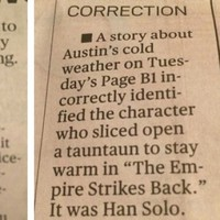 This is the best Star Wars-related newspaper correction you'll see today