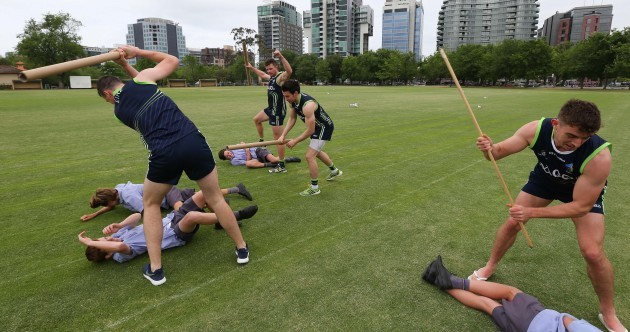 Bizarre new training methods from the Irish International Rules team in Melbourne today