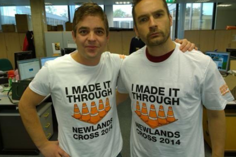 2fm's Keith Walsh and Diarmuid Byrne. They made it through Newlands Cross, apparently.