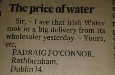 This Irish Times letter gets digs in at both Irish Water and the rain