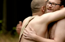Seth Rogen and James Franco in the nude, hugging and dancing