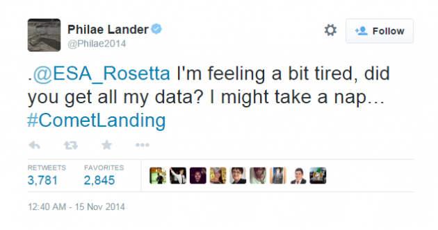The last tweets from the comet lander are pretty heartbreaking...