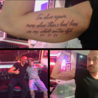Jonas Gutierrez has celebrated beating testicular cancer with a tattoo