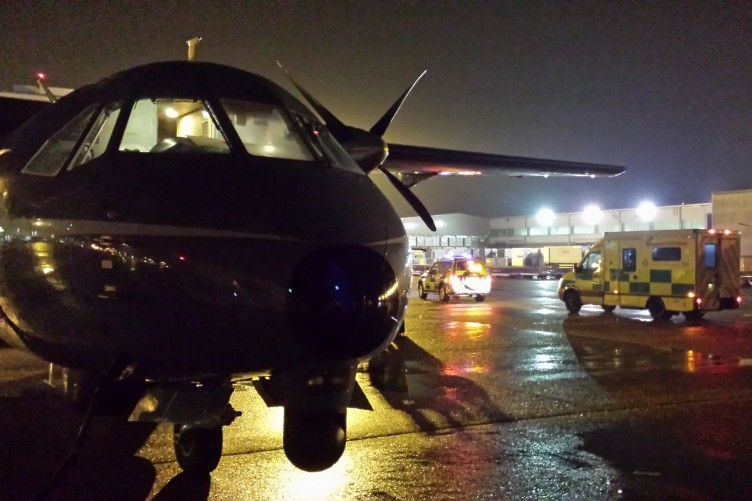 The air ambulance at Heathrow Airport London after transferring a patient.