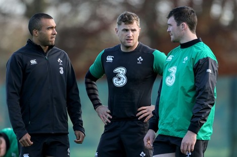 Heaslip alongside Simon Zebo and Peter O'Mahony at Ireland training.