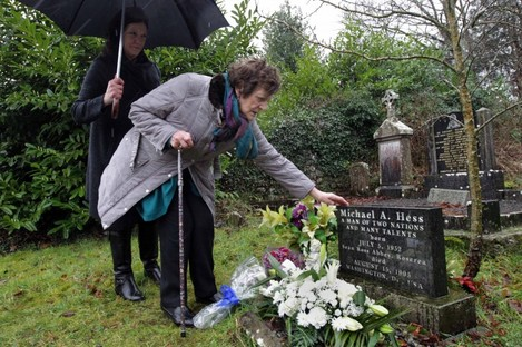 Philomena Lee at her son's grave.