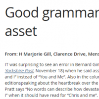 Woman writes in to newspaper to correct grieving woman's grammar