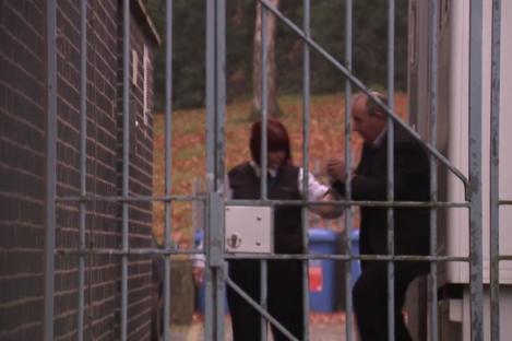 Allen (right) arriving at court today.