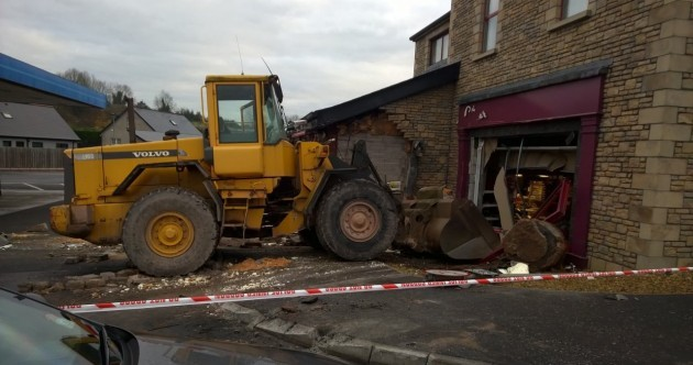 Digger used to smash into off-licence
