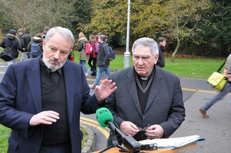 Bishop Kevin Doran and Bishop Liam MacDaid in Maynooth today.