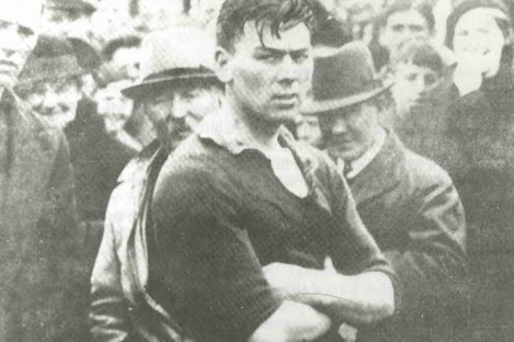 Mick Mackey awaits the presentation of the Limerick county hurling championship trophy in 1933.