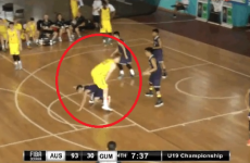 Basketball player runs through opponent's legs, forces missed shot