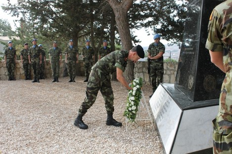 Chief of Staff of the Defence Forces Lieutenant General Conor O'Boyle lays a wreath in memory of the forty seven (47) Irish Soldiers who died on Peacekeeping Duties in Lebanon at the Memorial in Tibnin last year.