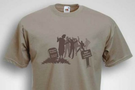 This t-shirt, depicting people celebrating at the grave of Margaret Thatcher, has been withdrawn from sale at the Sinn Féin Bookshop.