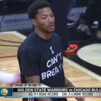 Derrick Rose wore an 'I Can't Breathe' t-shirt during warmups last night