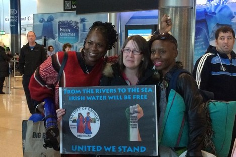 Detroit volunteer group are greeted at Dublin Airport today.