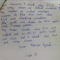 This 8-year-old wrote to the Taoiseach in 1984 because RTÉ was 'mean to block sunshine'