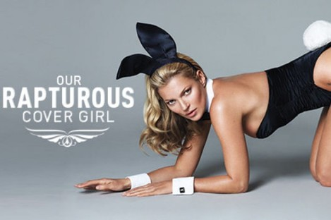An image from Playboy's website promoting Kate Moss as their cover girl.
