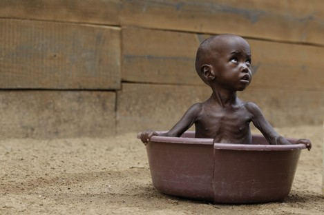 A child pictured at a refugee camp in Kenya last week.